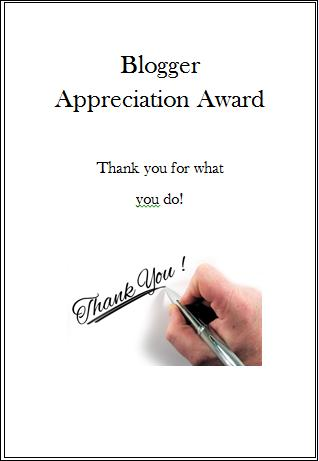Blogger Apreciation Award- Bj